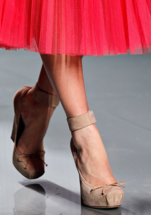 High-heeled pointe shoes at Christian Dior.