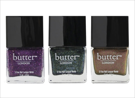 The master of all things glitter polish. buttter LONDON's holiday collection, featuring 'Shambolic,' 'Jack the Lad', and 'Scuppered.'