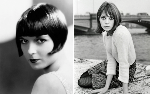 Left: Louise Brooks, who helped popularize the bob. R:  Jane Birkin is typically known for her long, boho-chic hair. Photographed by Eric Swayne. 1965.