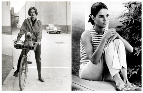 Audrey Hepburn (photographed by Mark Shaw backstage at Paramount Studios) and Ali MacGraw were pioneers for women in both their style and work.