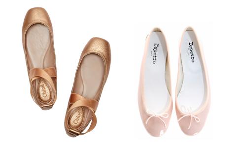 Chloe Square Toe Ballerina Flats and Repetto patent leather flats.