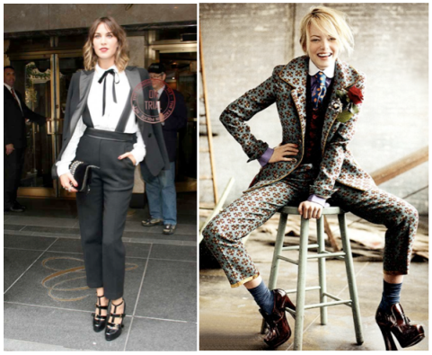 Modern collections are full of menswear-inspired pieces. Trendsetter Alexa Chung (at the Met Ball), and Emma Stone in Vogue, July 2012.