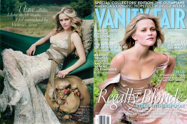 One of the many beauty collaborations between Witherspoon and Stern. Vanity Fair, December 2004.