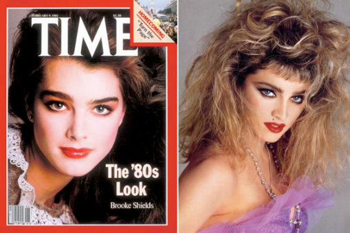 80s: Brooke Shields, the reigning Queen of the Bushy Eyebrow and Madonna, big eyebrows and even bigger hair.