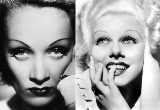 Jean Harlow and Marlene Dietrich mastering the eyebrows of Disney's Ursula and Maleficent.