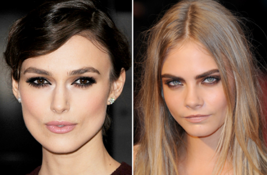 2010s: Keira Knightley and Cara Delevingne are known for their full (and perfectly arched) brows.