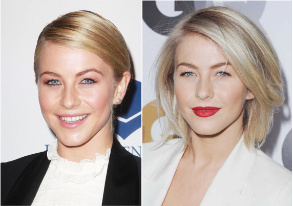 Stern regular Julianne Hough at (L) a Fulfillment Fun Gala and (R) GQ's Men of the Year 2012.
