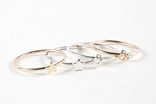 Catbird's ever popular rings, available in letters, stars, and hearts. Silver, $56. Gold, $96.