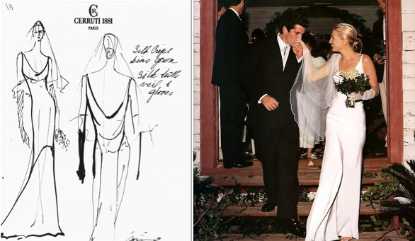 Carolyn Bessette Kennedy and John F. Kennedy Jr. on their wedding day (R), along with Rodriguez's sketch of the iconic dress (L).
