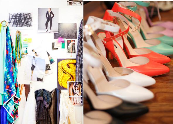 """L: A mood board in Webb's studio. R: """"Willa"""" pointy toe heels."""
