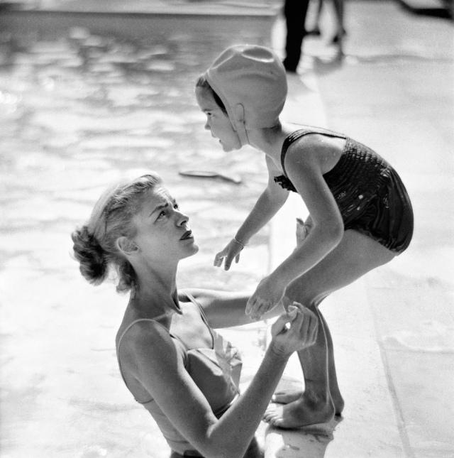 Lauren Bacall with daughter Leslie Bogart.