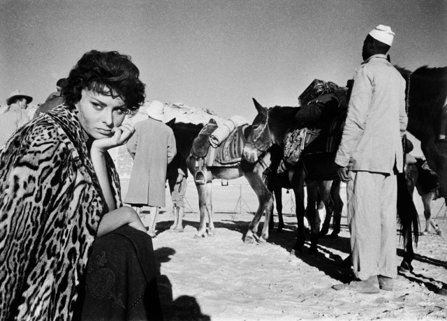 "Sophia Loren on the set of Legend of the Lost. ""There was a scene where she was scantily clad, and she broke down in tears because they asked her to shave her armpits. Hollywood has changed all that."""