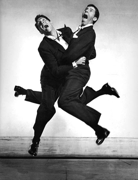 Dean Martin and Jerry Lewis, 1951. When photographing comedians, he reflected that they tended to stay in character, even mid-jump.
