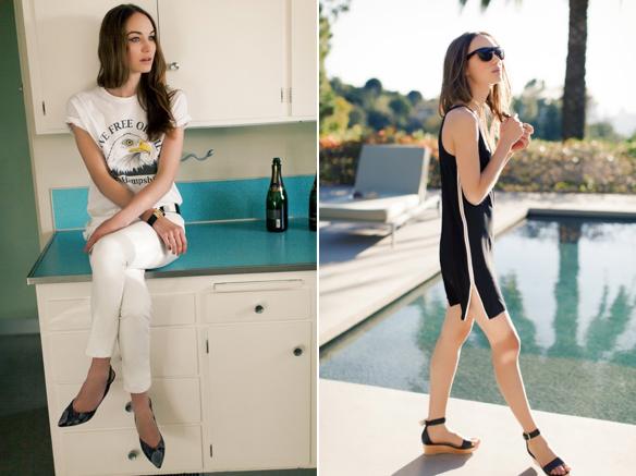 (L) White Denims. (R) Zip Tank Dress & Black Flatforms.
