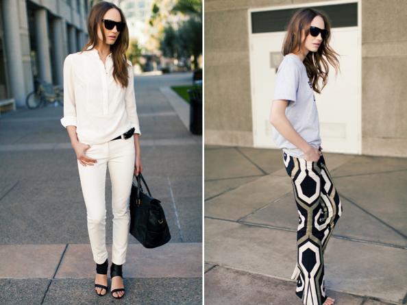 (L) White Shirtdress, White Denims, Cuff Heel, Black Bag, Black Sunglasses. (R) Emersonfry T, Big Geo Zep Pant.