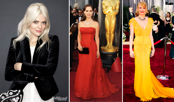 Two of Young's most recognizable works as a stylist. (Center) Natalie Portman in vintage Dior at the 2012 Oscars. (R) Michelle Williams in Vera Wang at the 2006 Oscars.