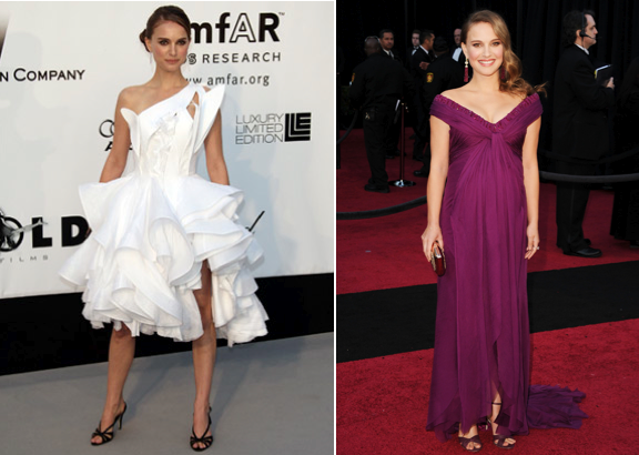 Natalie Portman (L) in Givenchy at afFAR's Cinema Against AIDS 2008 benefit. (R) In Rodarte at the 2011 Oscars.
