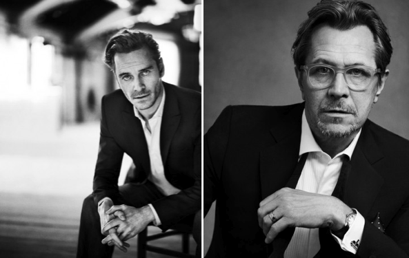 "Michael Fassbender (""The Charmer."" Vogue UK, February 2011) and Gary Oldman (""Dressing the Part."" The Daily Telegraph, April 2012."