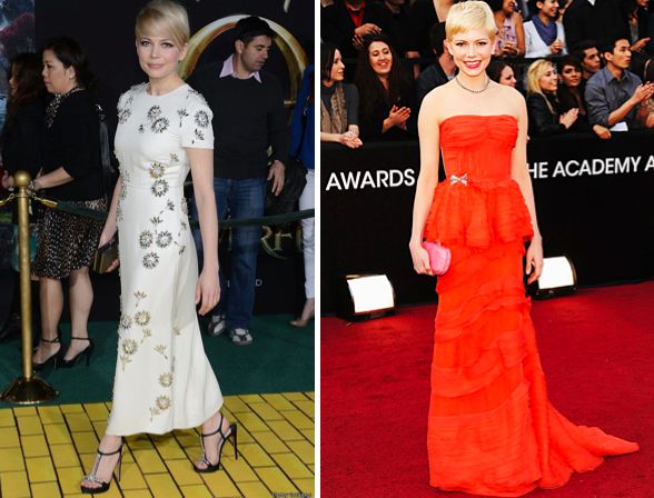 "Michelle Williams (L) in a Prada dress and Kate Young for Target clutch at the premiere of ""Oz the Great and Powerful."" (R) In Louis Vuitton at the 2012 Oscars."