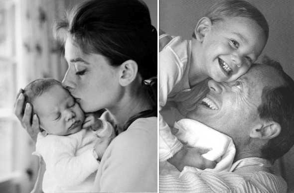 The precious baby boy with mama and daddy (Audrey's first husband, Mel Ferrer).