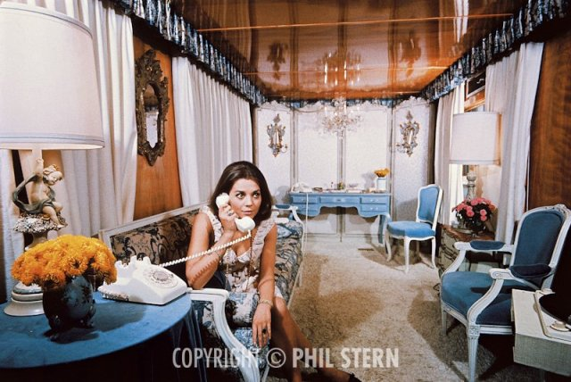 "Natalie Wood in her trailer on the set of This Property Is Condemned. ""That's one hell of a trailer, isn't it? Natalie was Russian by origin. She spoke perfect Russian. Her family was Russian, and when the Bolshoi Ballet came to L.A. in 1959, they stayed at her house. That was a big thing, considering the political climate at the time."""